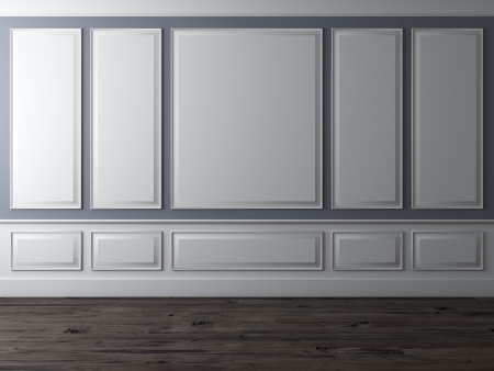 classic: Interior cl�sico con la pared azul y el suelo de madera