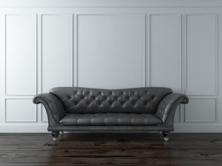 White Classic interior with black sofa Stock Photo - 16557539