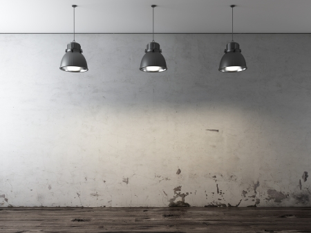 concrete commercial block: Room with ceiling lamps and grunge wall Stock Photo