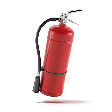 fire alarm: Red fire extinguisher