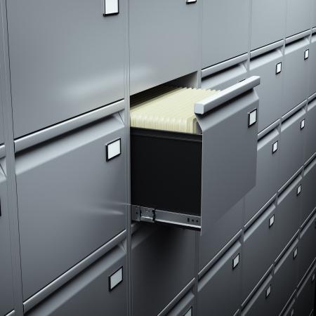 file cabinet: Archivador con documentos