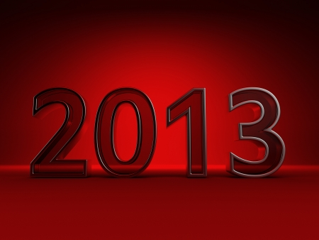 Red new year 2013  Isolated on red photo