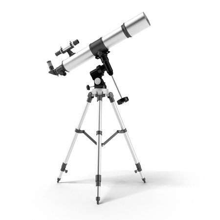 eyepiece: Silver telescope on a support