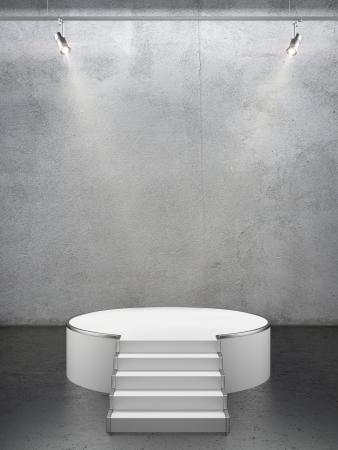 pedestal: Empty white podium Stock Photo