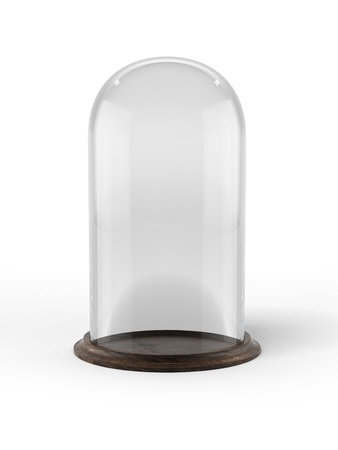 Glass bell with wooden base photo
