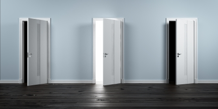 Three doors in row  One opened Stock Photo - 16633410