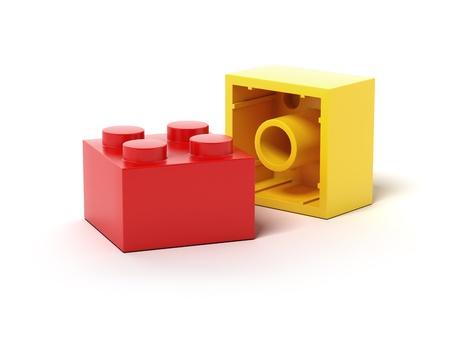 yellow block: Colorful plastic toy blocks  Stock Photo