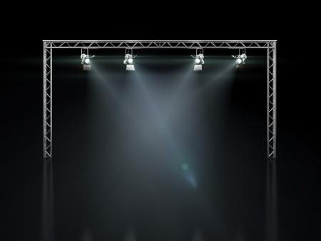 fari da palco: Fase luci isolato su fondo nero Archivio Fotografico