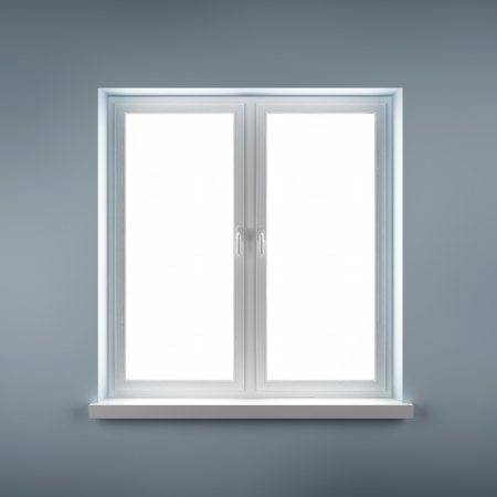 Closed plastic window on blue wall Stock Photo - 16633405