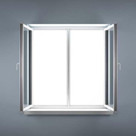 Opened plastic window  Stock Photo - 16633468