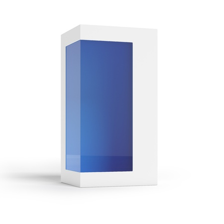 Cardboard package with transparent window and blue inside Stock Photo - 16633187