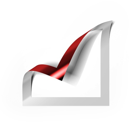 Checkbox icon with red angle folded Stock Photo - 16633127