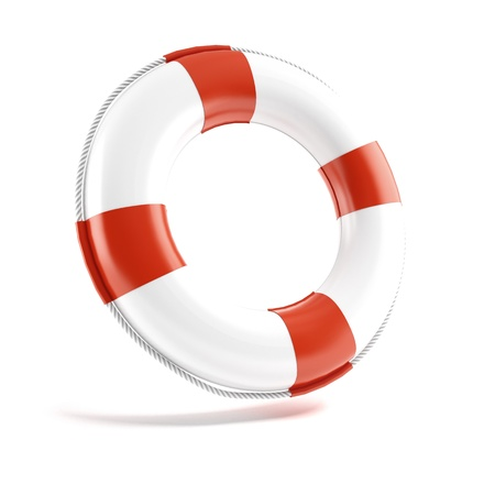 life insurance: White lifebuoy isolated on white