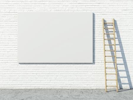 Blank street advertising billboard on brick wall photo