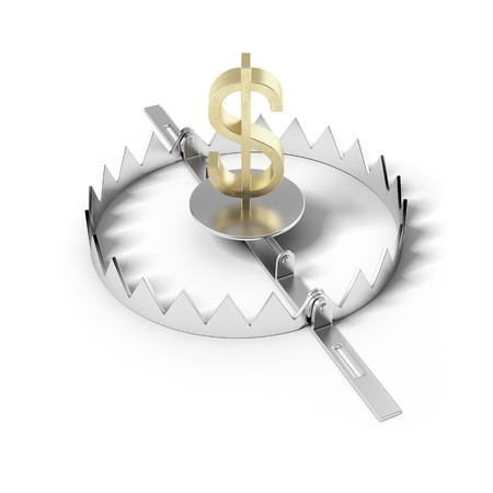 booby trap: Finance risk concept  Sign dollar on bear trap