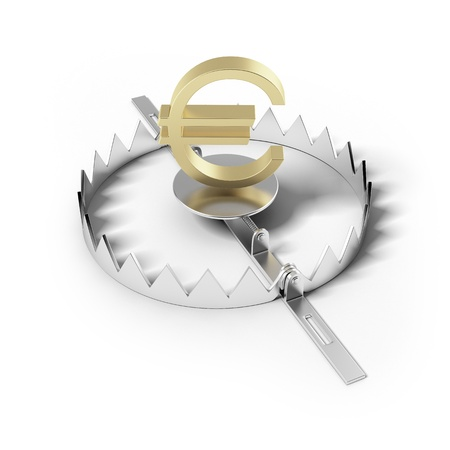 booby trap: Finance risk concept  Sign euro on bear trap