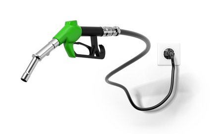 A green fuel nozzle from electrical outlet photo