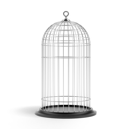 trapped: Silver Bird Cage Stock Photo