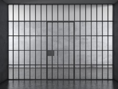 cellule prison: Intérieur prison avec lumière dramatique
