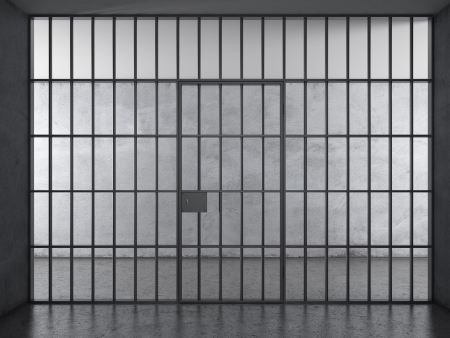 criminal act: Prison interior with dramatic light Stock Photo