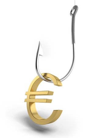 fishhook: Fishing hook with golden symbol of euro