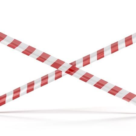 Crossed red white warning tape  photo