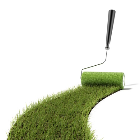 rollerbrush: Roller draws the green grass road isolated on a white background Stock Photo