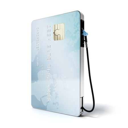 Blue credit card with gas nozzle isolated on a white background