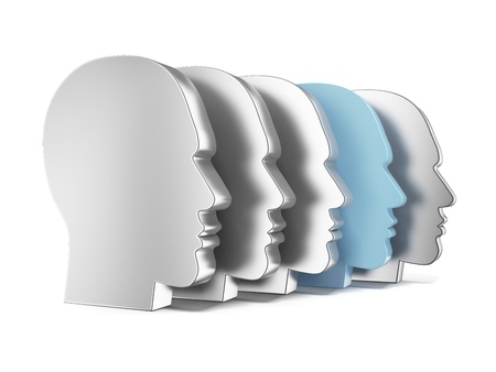 Unique human head isolated on a white background