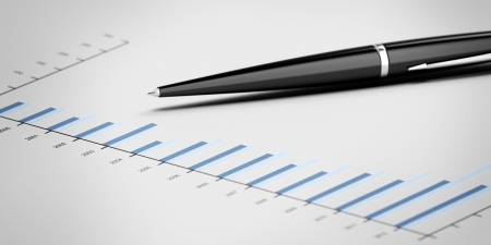Pen showing a diagram isolated on a white background Stock Photo - 16890128