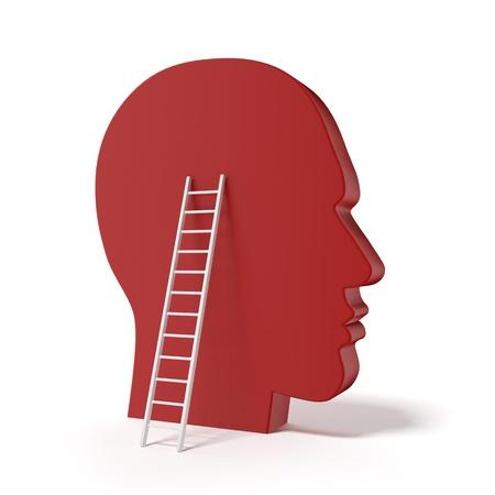 kopf: Menschlichen Kopf und ladde auf einem wei�en Hintergrund