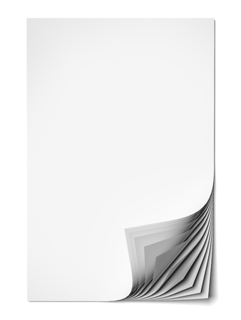 turn up: Blank paper sheets isolated on a white background Stock Photo