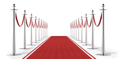 red line: Red carpet isolated on a white background