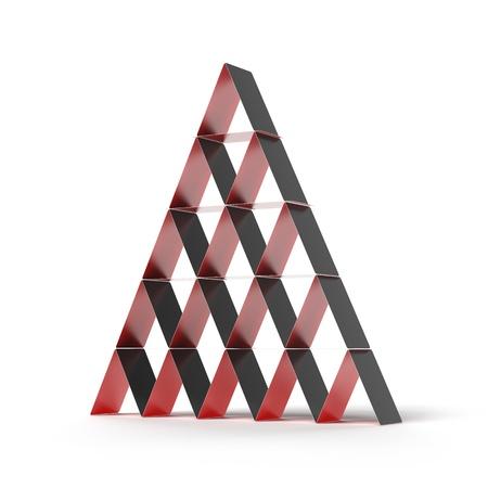 Pyramid Haus der Karten auf einem weißen Hintergrund