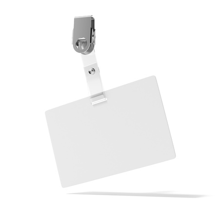 Blank ID Badge isolated on a white background photo