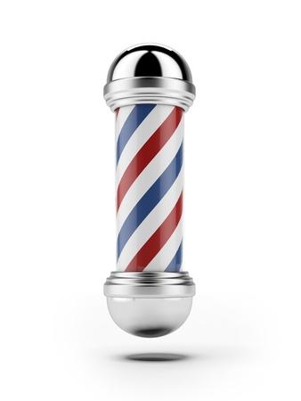 barbero: Classic Barber Pole tienda aislado en un fondo blanco Foto de archivo
