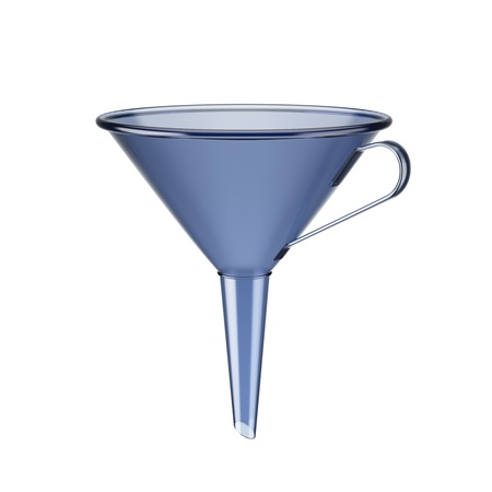 Blue funnel isolated on a white background Stock Photo