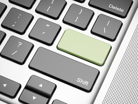 logon: Green empty keyboard button  3d render of laptop
