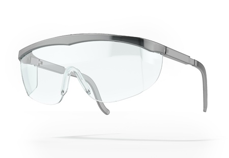 eye protectors: Plastic protection glasses isolated on a white background Stock Photo