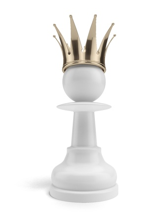 White pawn with a crown isolated on a white background photo
