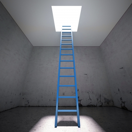 clamber: Ladder to the exit in dark interior