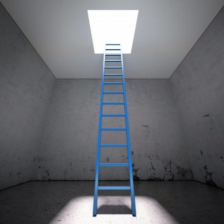 advancement: Ladder to the exit in dark interior