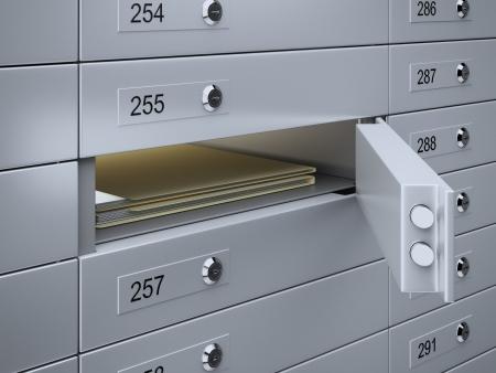 or lock up: 3d render de cajas de seguridad con documentos