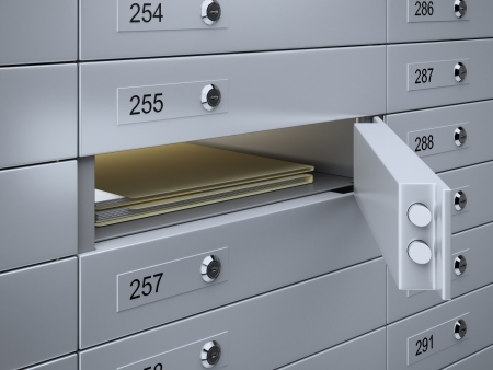 3d render of Safety deposit boxes with documents photo