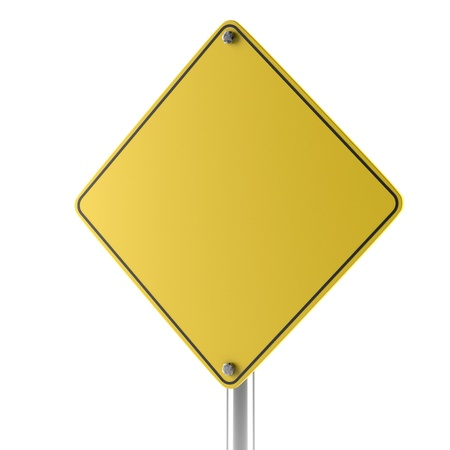 Yellow blank isolated caution sign isolated on a white background photo