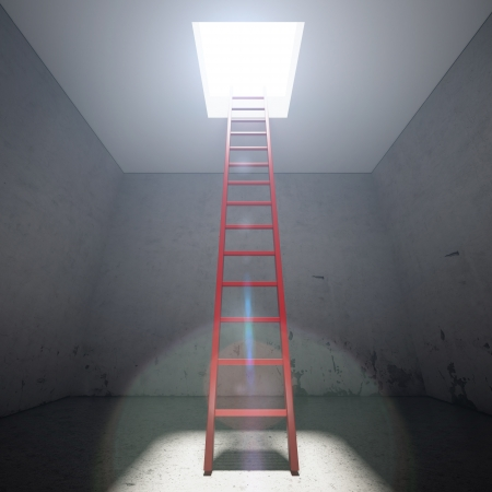 clamber: Red Ladder to the exit in dark interior Stock Photo