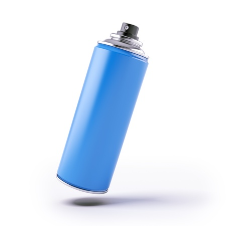 pressurized: Blue spray can isolated on a white background Stock Photo