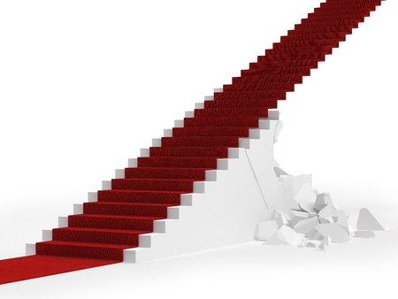 Red carpet up the destroyed stair isolated on a white background Stock Photo - 17034551
