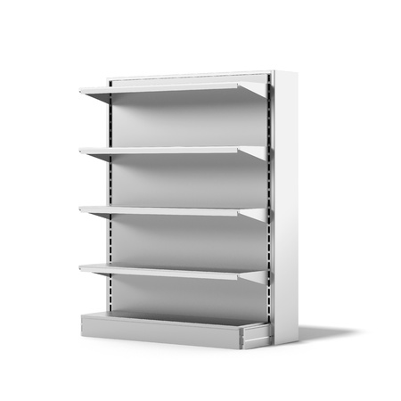 supermarket shelves: Empty Retail Store Shelf isolated on a white background