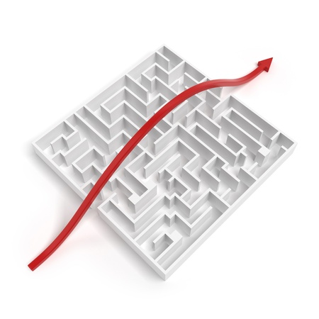 maze puzzle: Leadership And Business Vision With Strategy isolated on a white background Stock Photo